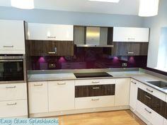 Glass Splashbacks in paint, print & special finishes. Coloured Glass Splashbacks, Printed Glass Splashbacks, New Kitchen, Kitchen Ideas, Glass Shower, Purple Glass, Colored Glass, House Ideas, Kitchen Cabinets
