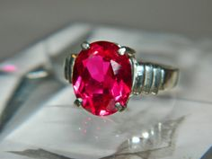 Blood red ruby ring by JewelrybyDecember67 on Etsy, $64.00
