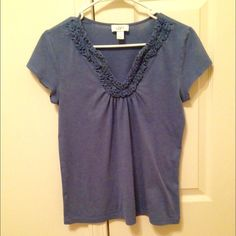SALE - LOFT Blue Top Short sleeve blue top from LOFT. Size S. Material 60% cotton, 40% modal. Gently worn. LOFT Tops Blouses