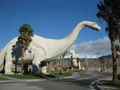 Cabazon Dinosaur Park in Cabazon, California.  If you are traveling on Interstate 10 through the California desert, the sudden appearance of two stationary dinosaurs is not a mirage. Dinny, an Apatosaurus, was completed in 1975; Mr. Rex, a Tyrannosaurus rex, was finished almost a decade later.