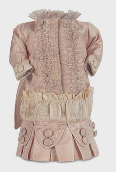 """Peach and Cream Silk Dress for 10"""" 12"""" Antique French or German Doll   eBay"""