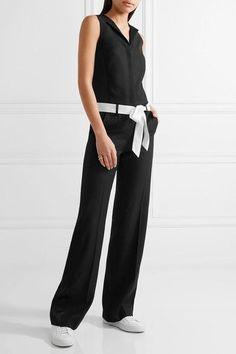 Karl Lagerfeld - Satin-trimmed Belted Crepe Jumpsuit - Black - IT40