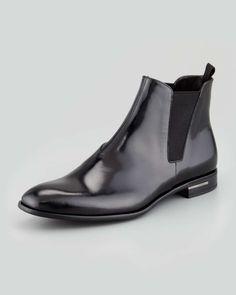 Prada Spazzolato Chelsea Boot, Black