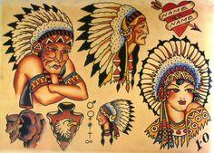 Sailor Jerry Tattoo Art Flash 16 13 x 19 Photo Print Traditional Tattoo Indian, Traditional Tattoo Inspiration, Traditional Tattoo Flash, American Traditional, Traditional Art, Sailor Jerry Tattoo Flash, Sailor Tattoos, Leg Tattoos, Vintage Tattoo Design