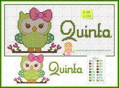 "Delicado Cantinho: Gráficos Ponto Cruz ""Semaninha Corujinha"" Kawaii Cross Stitch, Cross Stitch Owl, Cross Stitch For Kids, Cross Stitch Boards, Cross Stitch Alphabet, Cross Stitch Designs, Cross Stitching, Cross Stitch Embroidery, Embroidery Patterns"