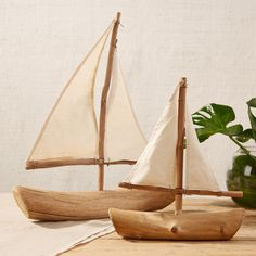 Set of 2 Decorative Driftwood Sailboats