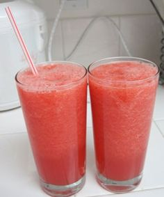 Slush of watermelon and strawberries