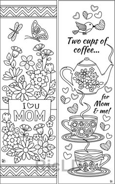 Gift Coloring Bookmarks For Moms Mothersday