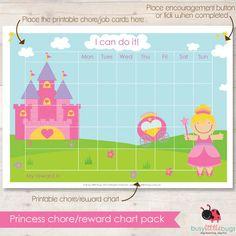 Princess chore/reward chart pack AUTOMATIC by BUSYLITTLEBUGSshop, $8.95