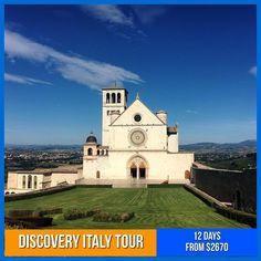 Tours start at $2670… 12 Days of Italian magic from Venice, Assisi,Florence, Rome to the amazing Amalfi Coast. . . . #italynow #italytourism #assisi #rome #grouptour #bucketlist #travelgram #italygram Italy Tour Packages, Italy Tourism, Group Tours, Amalfi Coast, 12 Days, Florence, Venice, Discovery, Rome