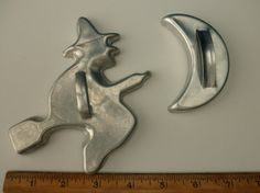 1960s aluminum cookie cutters - witch and moon