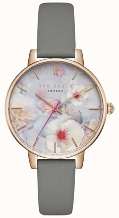Ted Baker Womans Kate Floral Dial Grey Leather Strap Rose Gold Case - First  Class Watches™ fe5ade88253