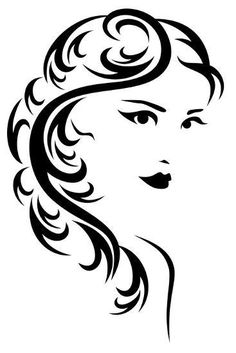 raster - elegant hairstyle illustration - black and white stylized portrait of a beautiful woman with long hair (vector version is available in my portfolio) Art Prints, Bird Silhouette Art, Silhouette Stencil, Art Drawings, Drawings, Art, How To Draw Hair, Design Art, Poster Design