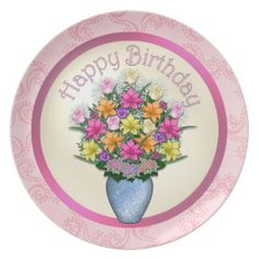 Birthday Floral Plate