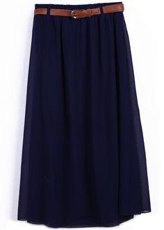 Navy Belt Waist Chiffon Long Skirt