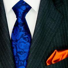 LORENZO CANA Luxury Italian Pure Silk Woven Tie Hanky Set Multicoloured Blue Paisley 3605502  I have it!
