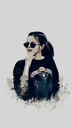 Selena rocks GnR sweatshirt in this awesome illustration edit. Selena Gomez Drawing, Selena Gomez Fotos, Selena Gomez Cute, Selena Gomez Style, Selena Quintanilla, Selena Gomez Wallpaper, Selena Gomez Background, What Makes You Beautiful, Digital Art Girl