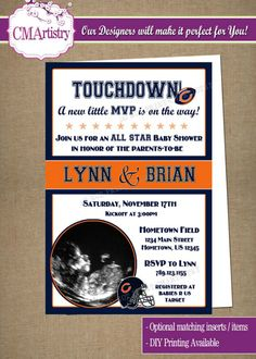 Personalized NFL Bears Football Baby Shower Photo Invitations - DIY Printable
