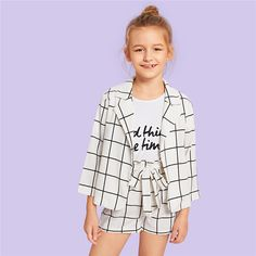 Kiddie Girls White Plaid Notched Collar Coat And Belted Shorts Casual – gagokid Kids Outfits Girls, Cute Girl Outfits, Girls Fashion Clothes, Tween Fashion, Cute Outfits For Kids, Casual Outfits, Fashion Outfits, Cute Clothes For Kids, Child Fashion
