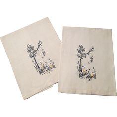Linen Guest Towels Vintage 1940's Stork Bird Embroidery  $18 http://www.rubylane.com/item/676693-CLL160/Linen-Guest-Towels-Vintage-1940x27s-Stork