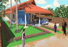 Planta de casa urbana e confortável - Opção 2 - Cód. 49 Village House Design, Village Houses, Modern House Design, Baseball Field, Gazebo, Golf Courses, 1, How To Plan, Architecture