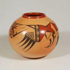 "#adobegallery - Hopi Polychrome Globular Jar. Dextra Quotskuyva Nampeyo (1928- ) Category: Contemporary Origin: Hopi Pueblo Medium: clay, pigment Size: 5-1/4"" height x 6-1/4"" diameter Item # C3792A"