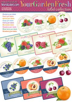 Free canning labels for your jams and preservatives by Ira Pavlovich. Cherry, Blueberry, Strawberry, Mix-berries, Apricot, Raspberry, Grape, Peach and Marmalade. Download at http://blog.worldlabel.com/2012/canning-jar-labels-for-jams.html