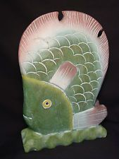 Vtg Wood Carved Handmade Tropical Fish Wooden Bookend Doorstop Folk Art Statue