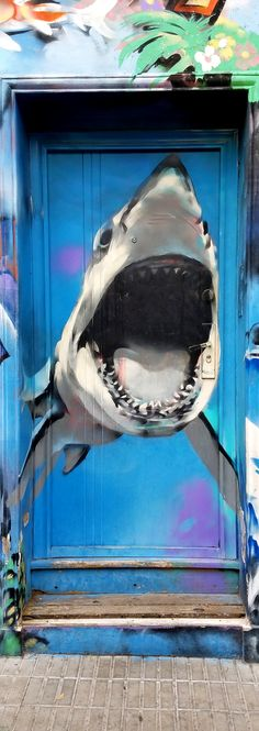 Buenos Aires, Argentina - Street Art & Graffiti ( Doors - Shark!) – This is from the cool art district, Palermo Hollywood.. Although the street art and graffiti is not as abundant as say what I have seen in Brasil, it is still beautiful. What is more unique to Buenos Aires is the number of stores with colored facades or street art decorated store fronts. Original Photography by R. Stowe.