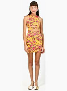 Yellow Floral Print Sleeveless Fitted Mini Dress with Cutouts | #ustrendy #dress #floral #print #cutouts #minidress #style #fashion #party #sexy #chic #roses