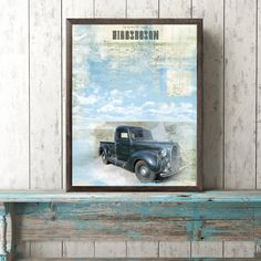 Black Ford Truck in the Town of Higgsboson Print Mixed Media Mixed Media, Mixing Prints, Painting, Cartography, Artwork, My Arts, Archival Ink, Prints, Original Artwork