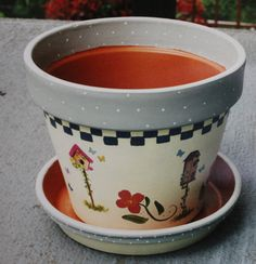 Clay pot painted with Art Deco paints