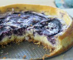 Light blueberry cheesecake.