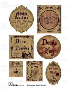 Haunted Halloween Spooky Bottle Labels 85 x 11 by XanderGraphics