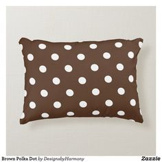 Brown Polka Dot Decorative Pillow Soft Pillows, Accent Pillows, Brown Cushions, Decorative Cushions, Colorful Decor, Soft Fabrics, Black And Brown, Polka Dots, Make It Yourself