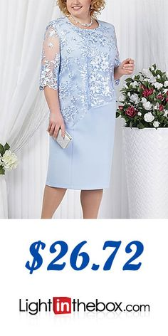 Half Sleeve Dresses, Knee Length Dresses, Types Of Dresses, Plus Size Dresses, Old Lady Dress, Mother Of The Bride Plus Size, Lace Dress Styles, Curvy Women Fashion, Petite Fashion