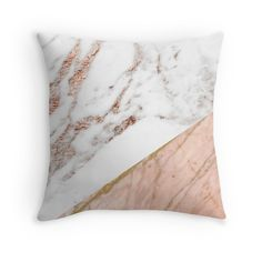 'Rose gold marble blended' Throw Pillow by peggieprints Rose Gold Bed, Rose Gold Rooms, Rose Gold Decor, Rose Gold Marble, White Marble, Gold Bedroom Decor, Bedroom Vintage, Bedroom Colors, Bedroom Ideas