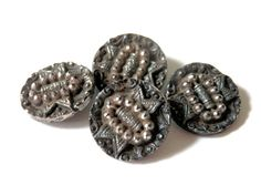 Victorian Black Pictorial Mourning Buttons Ribbons and Buckles