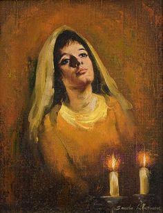 Sandu Liberman 1923-1977 (Israeli) Woman welcoming Shabbat oil on canvas