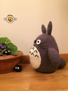 Large crochet Totoro pillow plush from My Neighbor Totoro by DNata