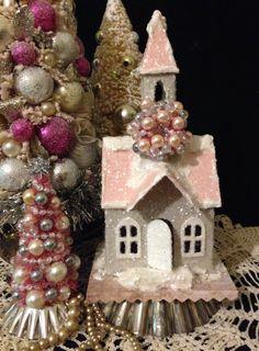 Putz Church Small Glitter House Christmas Village Bottlebrush Tree Putz Village…