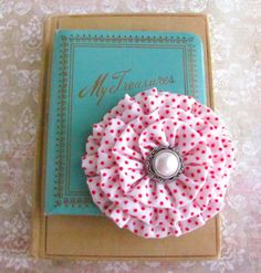 White and Red Polka Dot Flower Brooch Hair Clip by fabulousfinds, 16.00