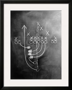 Football Play on Chalkboard by howard Sokol. Framed Art Print from Art.com. #mancave #sports-room
