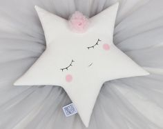 White Star Pillow With A Tulle Flower - 8 Different Flower Colors, Sleeping Star Cushion, Baby Girl Nursery Decor, Baby Girl Room.
