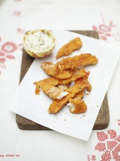 Baked Sole Goujons | Fish Recipes | Jamie Oliver                                                                            http://www.jamieoliver.com/recipes/fish-recipes/baked-sole-goujons/#5lbM9qZkOSzxCMXV.97