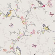 Holden Decor Dove Grey Multi Color Birds Trees Floral Butterfly Wallpaper in Home, Furniture & DIY, DIY Materials, Wallpaper & Accessories | eBay