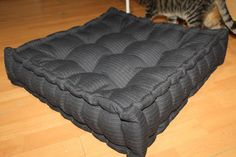 """Handmade """"french cushion"""" mattress, for small/medium size dogs, manually sewn and finished, made from resistant materials, size 56/56cm, thickness 14 cm, filled with silicone fluff and comfortable for any furry pets.Unique design!"""