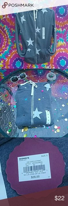 BNWT ☆Star☆ Hoodie Lightweigh NWT This listing is for a size small so brand hoodie full zip grey with white stars brand new with tag never worn not even try it on free gift with any purchase next day shipping is guaranteed my closet is always buy one get one HALF off .  I'm also running a special this week sale ends Saturday September 2nd ALL  HOODIES  are BUY  one GET  ONE  FREE♡♡♡♡  equal or lesser value happy poshing SO Sweaters