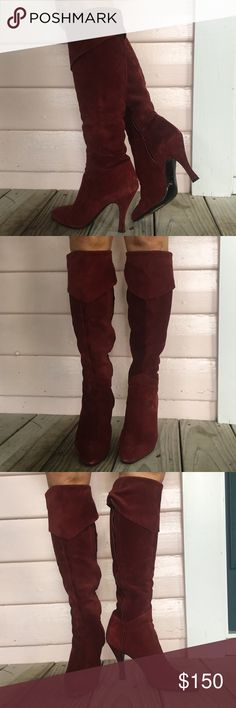 Peter Fox Knee Highs Fall is approaching fast! These incredible Peter Fox burgundy Knee highs have only been worn once for a photo shoot! They are a size 8 and very comfortable! They will hug around the calves so please know even though they're a size 8 they will be tight! Made in Italy and 100% authentic! Minor scuffs on bottom of shoes from the photo shoot! Peter Fox Shoes Over the Knee Boots