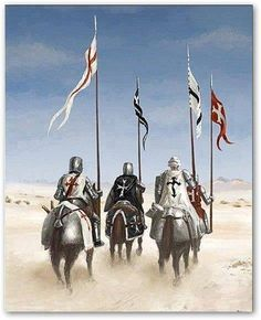 """And on this Day of Days, after the conquest of the last bastion of the land, the four Holy Knights joined for one last Quest. Onward to Jericho they ma. 6 days to Jericho Medieval World, Medieval Knight, Medieval Armor, Medieval Fantasy, Knights Templar Symbols, Christian Soldiers, Crusader Knight, Christian Warrior, Armadura Medieval"